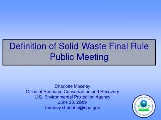 Definition of Solid Waste Final Rule Public Meeting