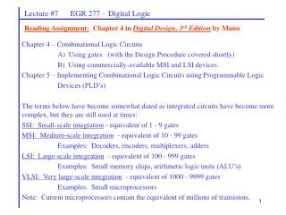 Lecture #7      EGR 277 – Digital Logic