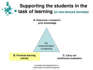 Supporting the students in the task of learning  (in non-lecture formats)