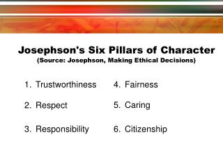 Josephson's Six Pillars of Character (Source: Josephson, Making Ethical Decisions) ‏