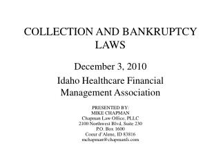 COLLECTION AND BANKRUPTCY LAWS