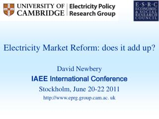 Electricity Market Reform: does it add up?
