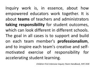 Children First Intensive Inquiry Team Handbook, NYC DOE