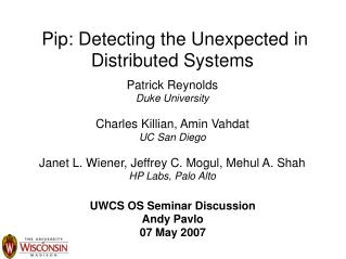 Pip: Detecting the Unexpected in Distributed Systems