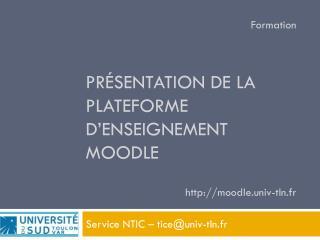 Présentation de la plateforme d'enseignement Moodle