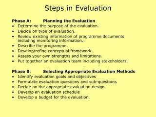 Steps in Evaluation
