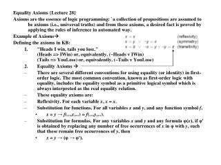 Equality Axioms {Lecture 28}