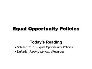 Equal Opportunity Policies