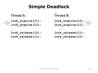Simple Deadlock