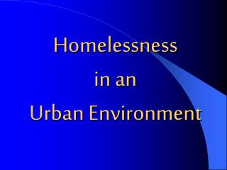Homelessness in an Urban Environment