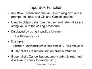 InputBox Function