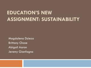 Education's New Assignment: Sustainability