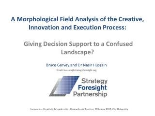 A Morphological Field Analysis of the Creative, Innovation and Execution Process: Giving Decision Support to a Confused
