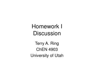 Homework I Discussion