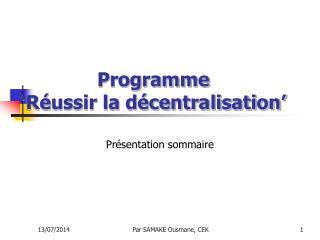 Programme  'Réussir la décentralisation'