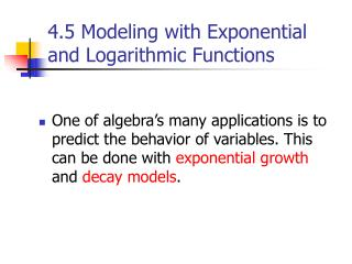 4.5 Modeling with Exponential and Logarithmic Functions