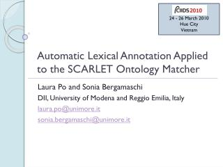 Automatic Lexical Annotation Applied to the  SCARLET Ontology Matcher