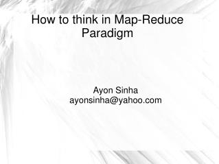 How to think in Map-Reduce Paradigm