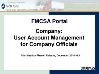 Company: User Account Management  for Company Officials