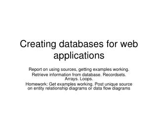 Creating databases for web applications