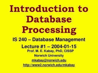 Introduction to Database Processing