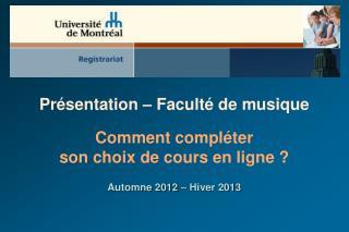 Présentation – Faculté de musique