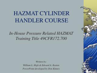 HAZMAT CYLINDER HANDLER COURSE