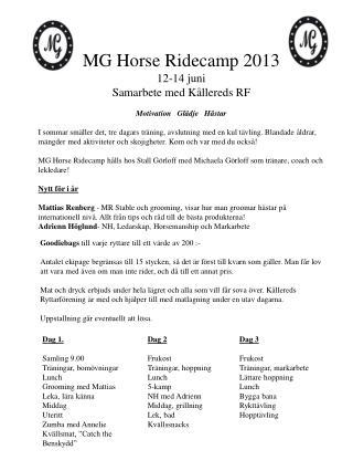 MG Horse Ridecamp 2013   12-14 juni  Samarbete med Kållereds RF  Motivation   Glädje   Hästar