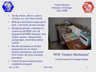 Control System Summary of Changes Since PDR