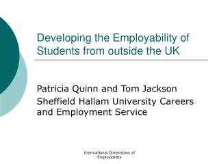 Developing the Employability of Students from outside the UK