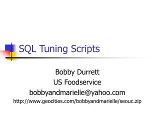 SQL Tuning Scripts