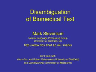 Disambiguation  of Biomedical Text