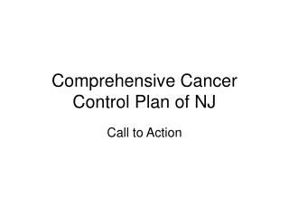 Comprehensive Cancer Control Plan of NJ