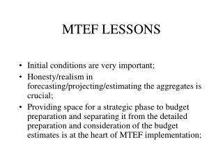 MTEF LESSONS