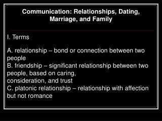 Communication: Relationships, Dating, Marriage, and Family