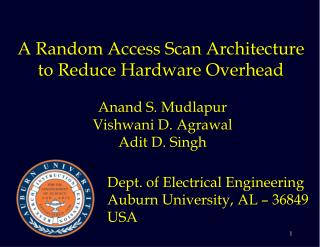 A Random Access Scan Architecture to Reduce Hardware Overhead