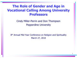 The Role of Gender and Age in Vocational Calling Among University Professors