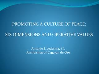 PROMOTING A CULTURE OF PEACE:  SIX DIMENSIONS AND OPERATIVE VALUES