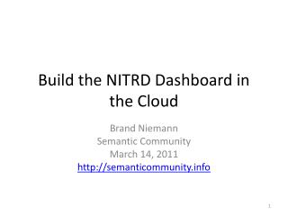 Build the NITRD Dashboard in the Cloud