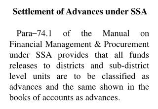 Settlement of Advances under SSA