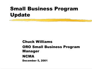 Small Business Program Update