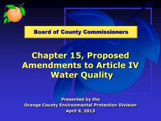 Chapter 15, Proposed Amendments to Article IV  Water Quality