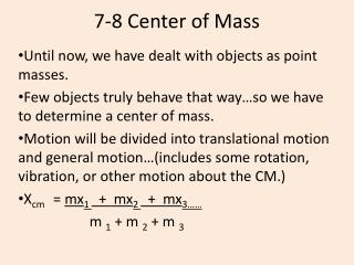 7-8 Center of Mass