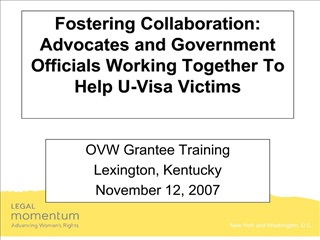 Fostering Collaboration:  Advocates and Government Officials Working Together To Help U-Visa Victims