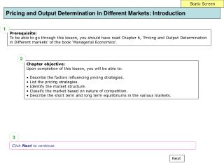 Pricing and Output Determination in Different Markets : Introduction