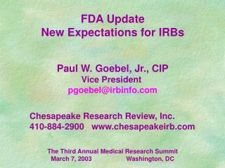 FDA Update New Expectations for IRBs