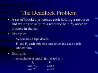 The Deadlock Problem