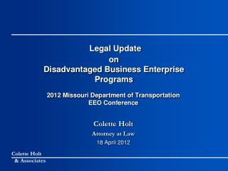 Legal Update on Disadvantaged Business Enterprise Programs