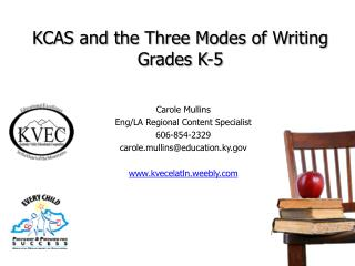 KCAS and the Three Modes of Writing Grades K-5