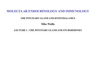 MOLECULAR ENDOCRINOLOGY AND IMMUNOLOGY THE PITUITARY GLAND AND HYPOTHALAMUS Mike Wallis LECTURE 1 : THE PITUITARY GLAND